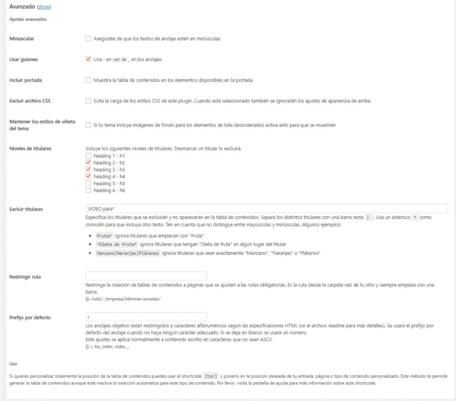tabla de contenidos wordpress ajustes avanzados