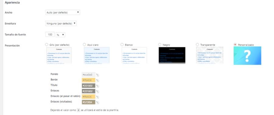 tabla de contenidos wordpress personalizar diseño