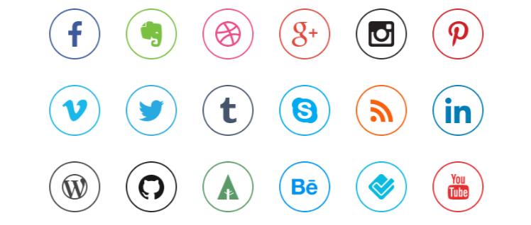 iconos redes sociales redondos gratis estilo flat