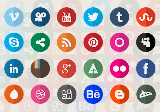 botones redes sociales redondos gratis