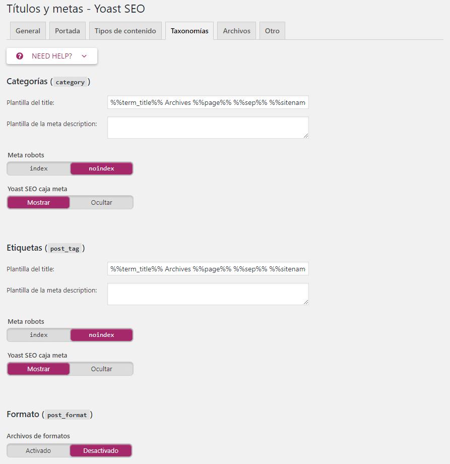 taxonomias categorias etiquetas yoast seo