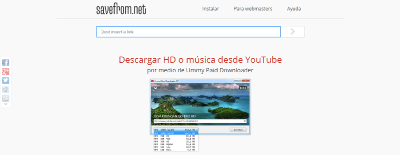 descargar audio vídeos youtube gratis savefrom
