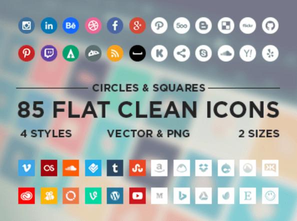 botones de redes sociales iconos minimalistas