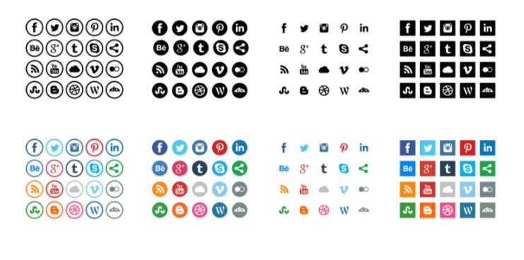 iconos redes sociales gratis redondos cuadrados