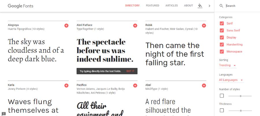google fonts catálogo fuentes diseño web y diseño gráfico