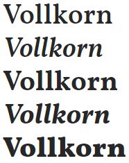 google fonts fuentes para títulos vollkorn