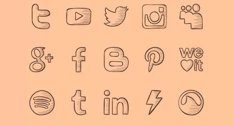 iconos de redes sociales gratis dibujo a mano alzada