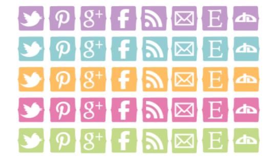 botones de redes sociales gratis color pastel