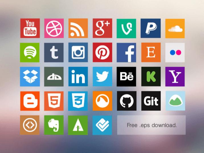 iconos redes sociales gratis free flat