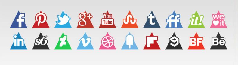 iconos redes sociales gratis en forma de triángulo