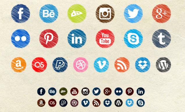 iconos de redes sociales estilo garabato scribble