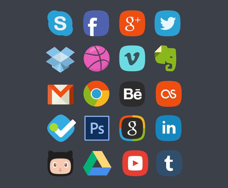 iconos social media tipo insignia