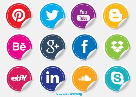 iconos redes sociales gratis en forma de pegatina sticker