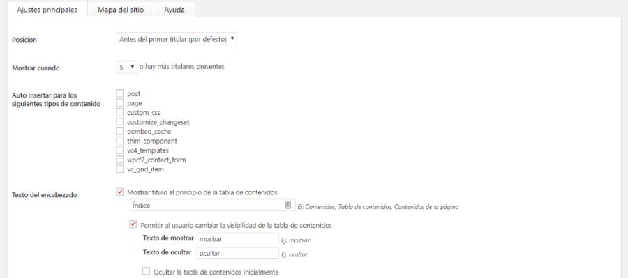 tabla de contenidos wordpress configurar