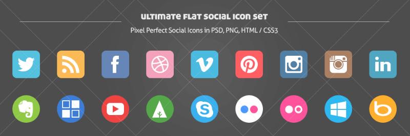 botones redes sociales gratis diseño flat