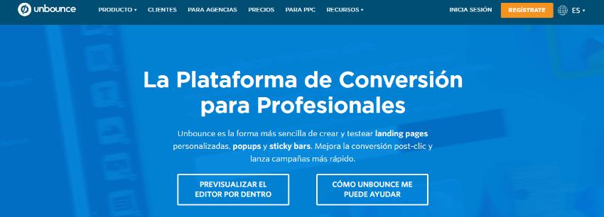 crear landing page web unbounce