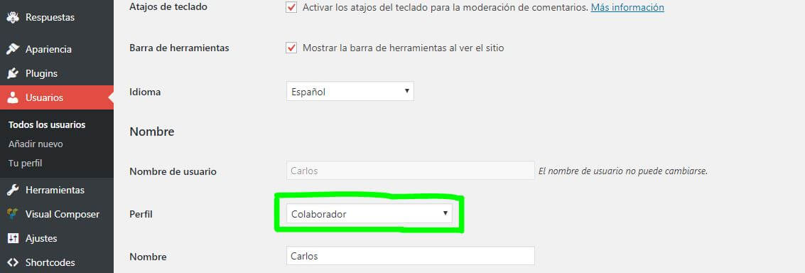 usuarios en wordpress