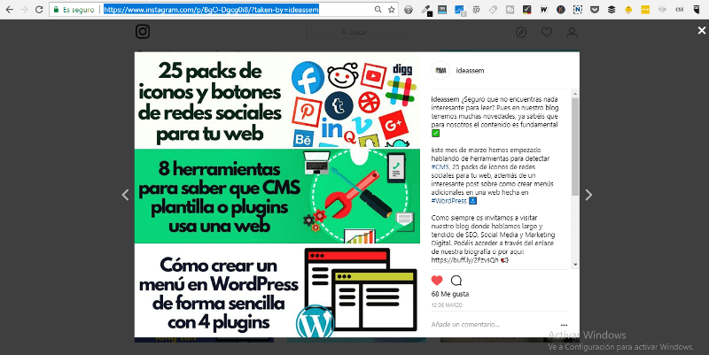 mostrar foto instagram en wordpress