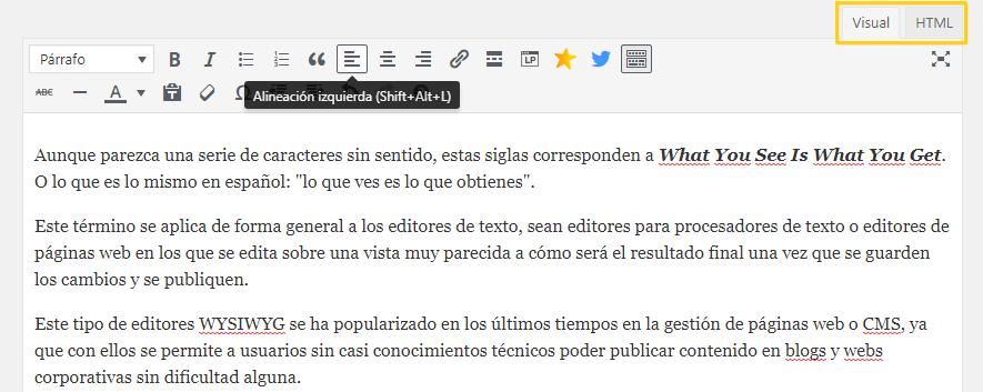 wysiwyg que es editor wordpress